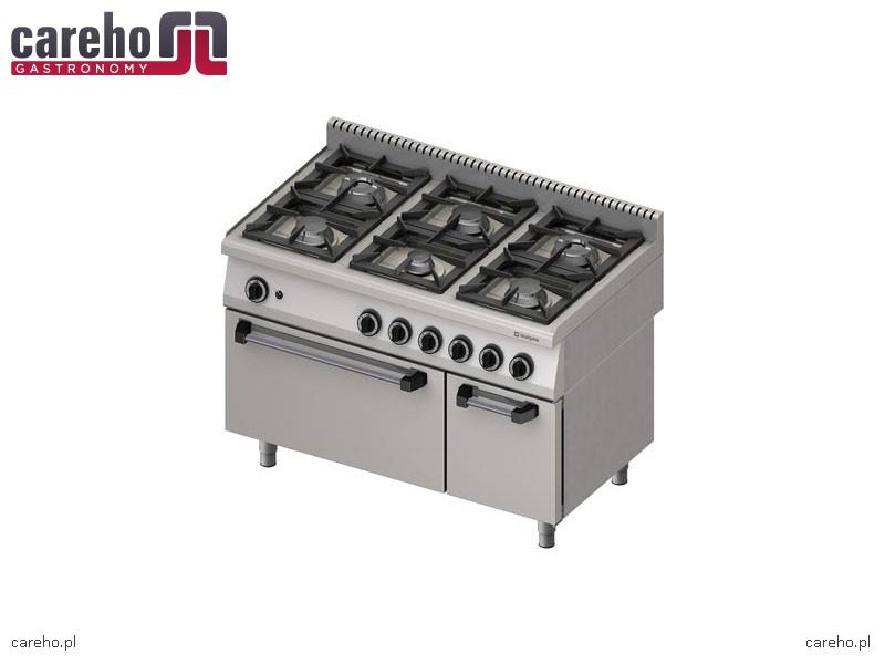 Kuchnia gazowa 6 palnikowa z piekarnikiem gazowym i z