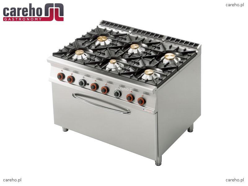 Kuchnia Gazowa 6 Palnikowa Z Piekarnikiem Elektrycznym 3x Gn 1 1 54