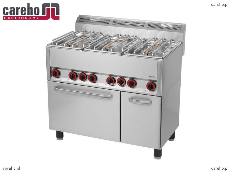 Kuchnia gazowa 6 palnikowa z piekarnikiem elektrycznym 30