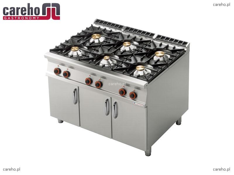 Kuchnia gazowa 6 palnikowa z szafką 45kW Rm Gastro PC 912G  Kuchnie gazowe -> Kuchnia Gazowa Wok