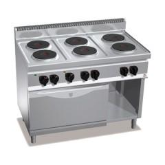 Kuchnia elektryczna 6-płytowa z piekarnikiem GN 1/1 i szafką 19,1kW E7P6+FE1