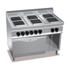 Kuchnia elektryczna 6-płytowa z piekarnikiem GN 2/1 i szafką 23,1kW E7PQ6+FE