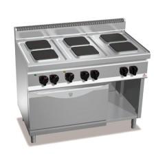 Kuchnia elektryczna 6-płytowa z piekarnikiem GN1/1 i szafką 19,1kW E7PQ6+FE1