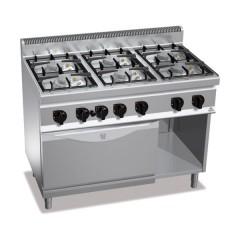 Kuchnia gazowa 6-palnikowa z piekarnikiem elektrycznym GN 2/1 i szafką 41kW G7F6PW+FE