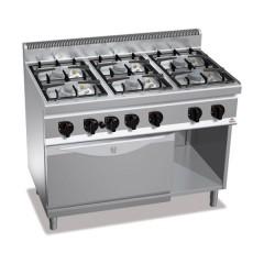Kuchnia gazowa 6-palnikowa z piekarnikiem elektrycznym GN 1/1 i szafką 37kW G7F6PW+FE1