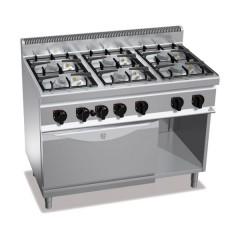 Kuchnia gazowa 6-palnikowa z piekarnikiem gazowym GN 1/1 i szafką 37,5kW