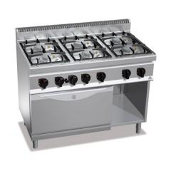 Kuchnia gazowa 6-palnikowa z piekarnikiem gazowym GN 1/1 i szafką 41,3kW G7F6PW+FG