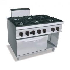 Kuchnia gazowa 6-palnikowa z piekarnikiem GN 2/1 i szafką  61,3kW SG9F6+FG