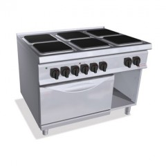 Kuchnia elektryczna 6-płytowa z piekarnikiem GN 2/1 i szafką 31,5kW SE9PQ6+FE