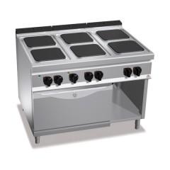 Kuchnia elektryczna 6-płytowa z piekarnikiem GN 2/1 i szafką 28,5kW E9PQ6+FE