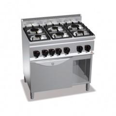 Kuchnia gazowa 6-palnikowa z piekarnikiem GN 1/1 22,1kW i szafką G6F6+FG1