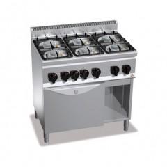 Kuchnia gazowa 6-palnikowa z piekarnikiem GN 1/1 i szafką 32kW G6F6PW+FG1