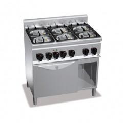 Kuchnia gazowa 6-palnikowa z piekarnikiem GN 1/1 i szafką 28,5kW G6F6PW+FE1