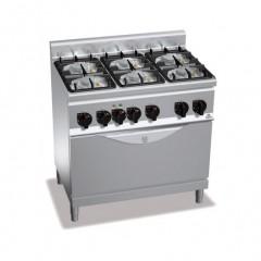 Kuchnia gazowa 6-palnikowa z piekarnikiem 28,5kW G6F6PW+TE